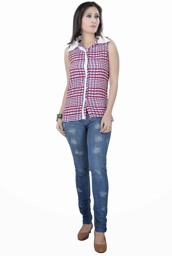 1f728721e Raindrops Women's Checkered Casual Button Down Collar Shirt - Buy Red,  Blue, White Raindrops Women's Checkered Casual Button Down Collar Shirt  Online at ...