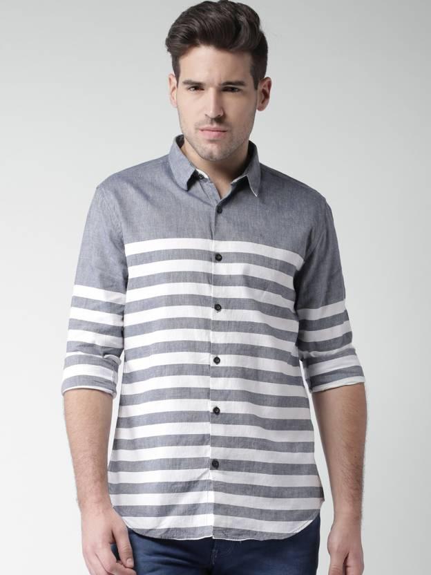 325aee60d8d Mast & Harbour Men's Striped Casual Dark Blue, White Shirt