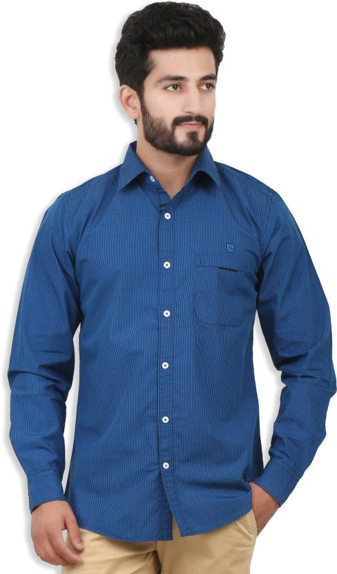 69cb14cd221 Speak Men s Checkered Casual Blue Shirt - Buy Blue Speak Men s Checkered  Casual Blue Shirt Online at Best Prices in India