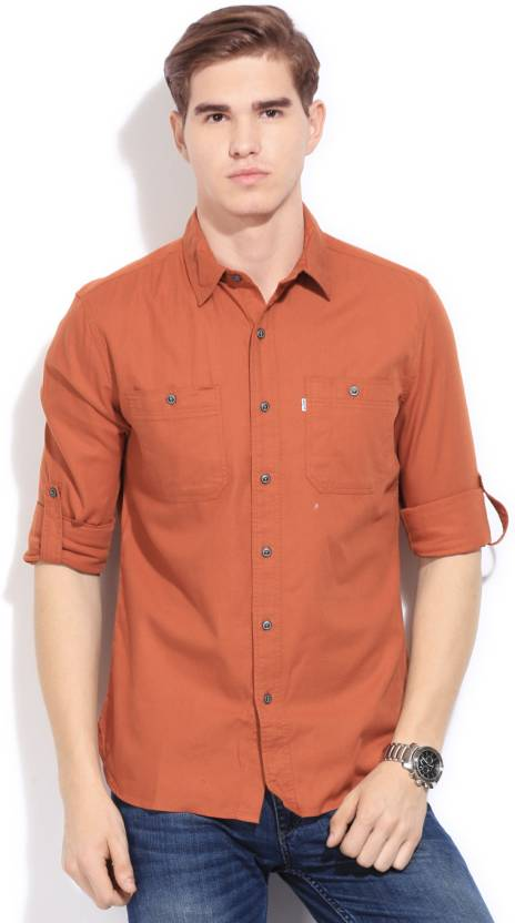 e753661d1c Levi s Men s Solid Casual Orange Shirt - Buy Orange Levi s Men s Solid  Casual Orange Shirt Online at Best Prices in India