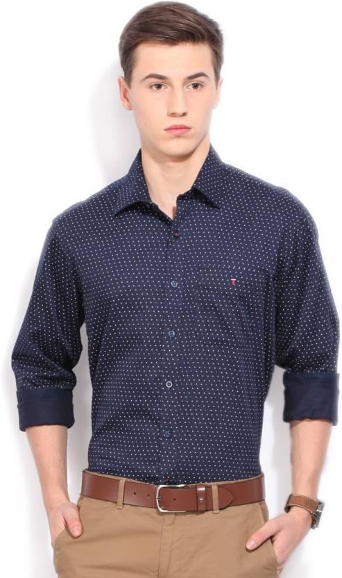 LP Louis Philippe Men's Printed Casual Dark Blue Shirt