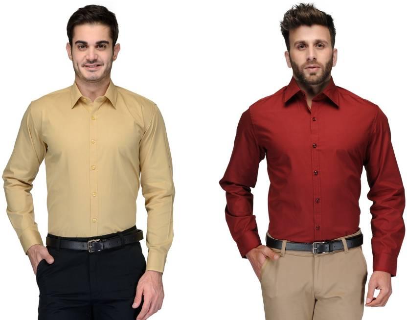 Allen Men's Solid Formal Beige, Red Shirt