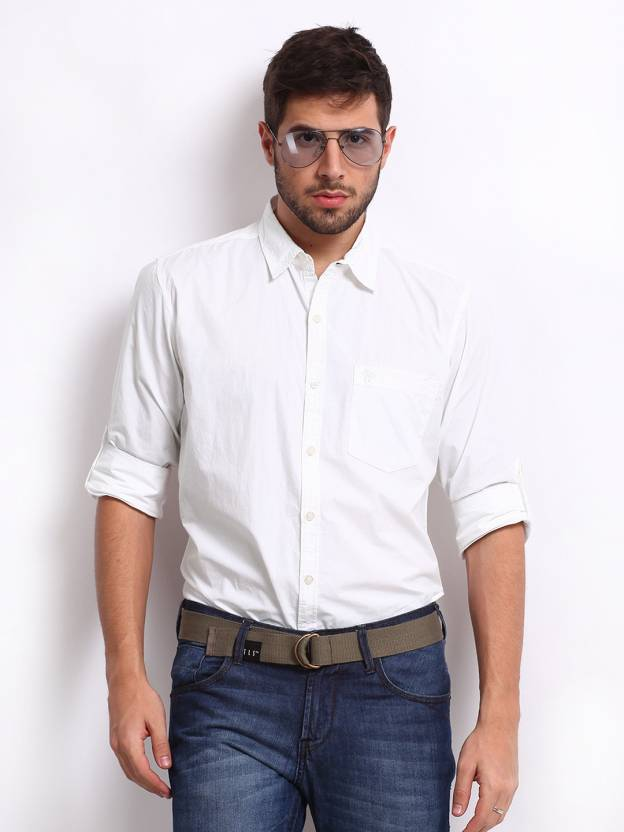 Roadster Men's Solid Casual White Shirt