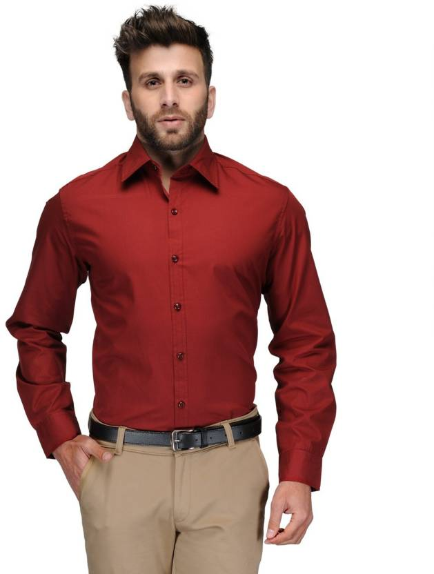 Allen Men's Solid Formal Red Shirt
