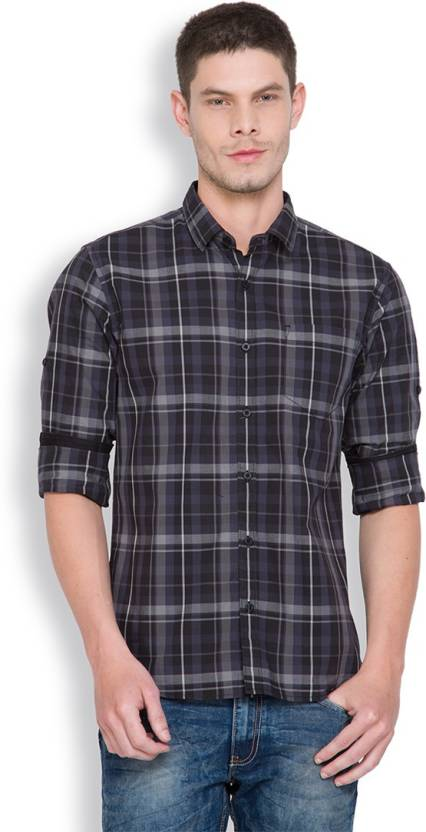 Highlander Mens Checkered Casual Black, Grey Shirt