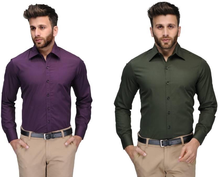 Allen Men's Solid Formal Purple, Green Shirt
