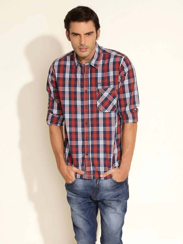 9c185992f8 Pepe Jeans Men s Checkered Casual Red Shirt - Buy Red Pepe Jeans Men s  Checkered Casual Red Shirt Online at Best Prices in India