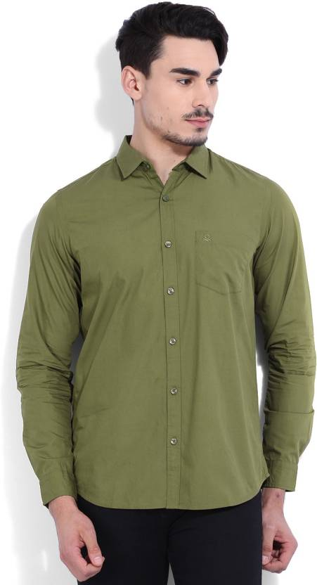 United Colors Of Benetton Mens Solid Casual Green Shirt Buy