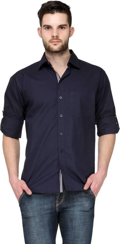 TSX Mens Solid Casual Blue Shirt