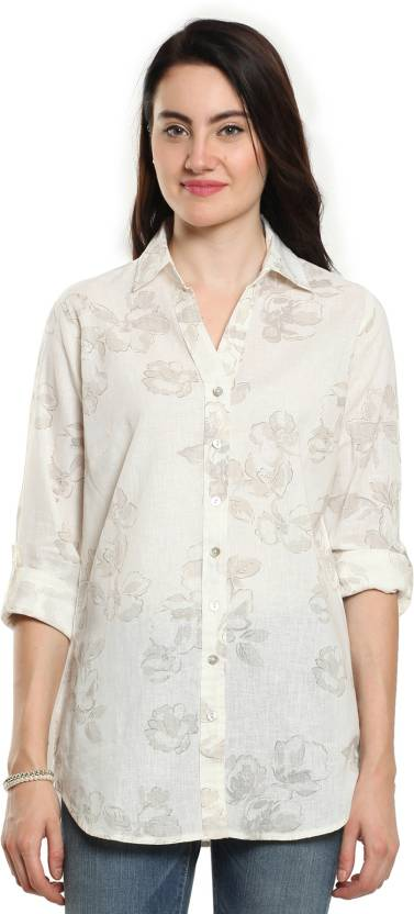 aae5918fd4f9 Cotton World Women s Printed Casual White Shirt - Buy White Cotton ...