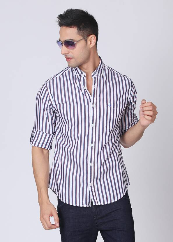f35de3908980 Peter England Men's Striped Casual Spread Collar Shirt - Buy Red, White,  Blue Peter England Men's Striped Casual Spread Collar Shirt Online at Best  Prices ...