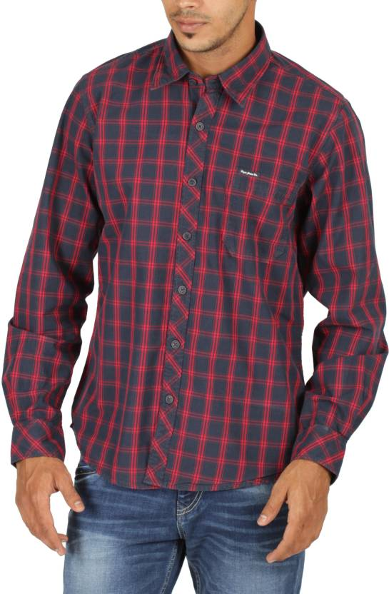 562de1aa31 Pepe Jeans Men s Checkered Casual Red Shirt - Buy BERRY Pepe Jeans ...