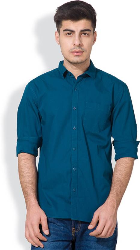 Highlander Mens Solid Casual Blue Shirt