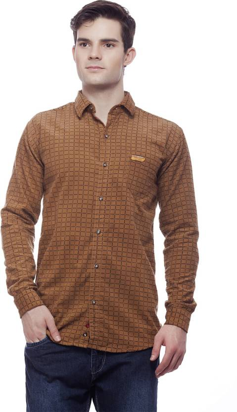 20cad92b6b1a jimmy and jordan Men s Checkered Casual Brown Shirt - Buy Brown jimmy and  jordan Men s Checkered Casual Brown Shirt Online at Best Prices in India ...