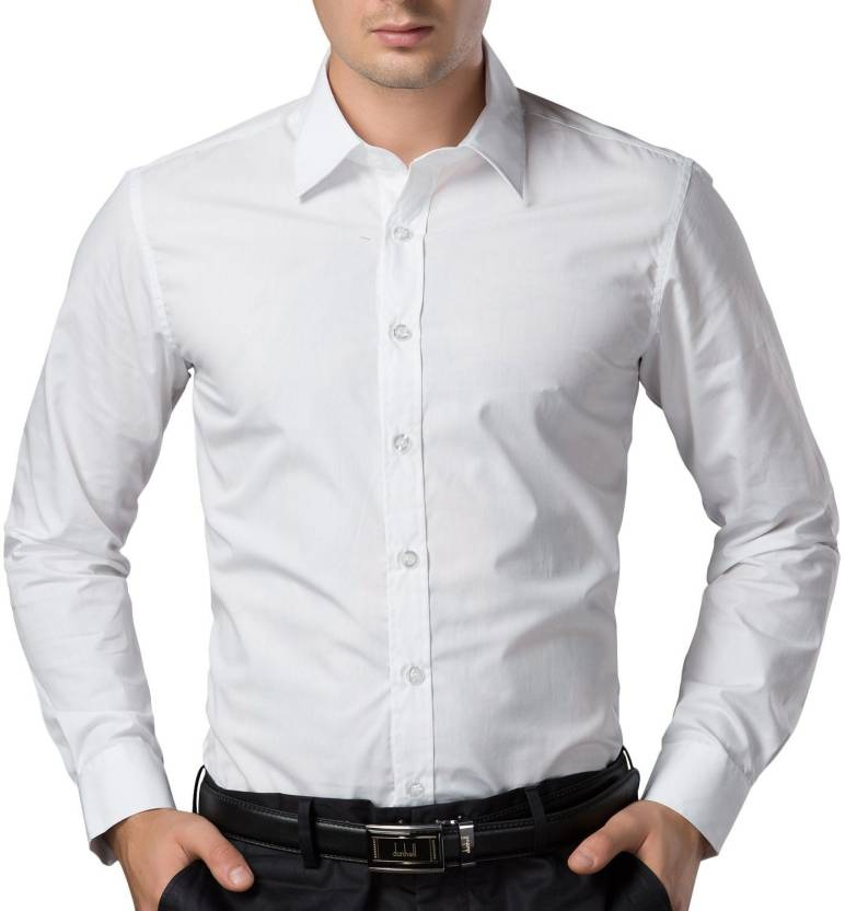 Being Fab Mens Solid Formal White Shirt