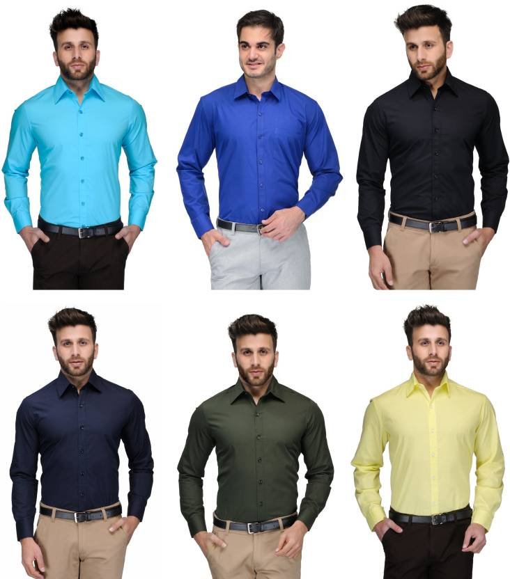 Allen Men's Solid Formal Light Blue, Blue, Black, Dark Blue, Green, Yellow Shirt