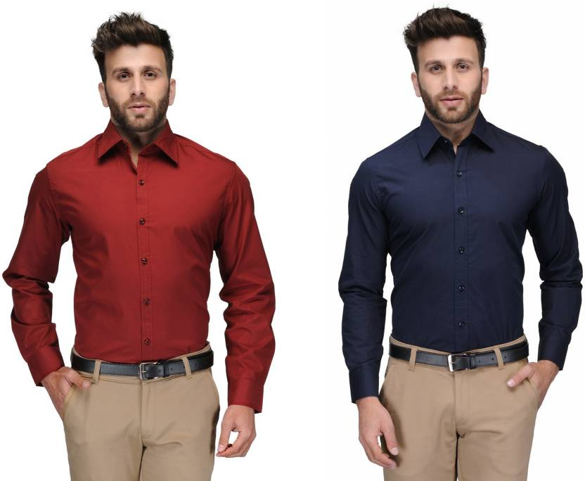 Allen Men's Solid Formal Red, Dark Blue Shirt
