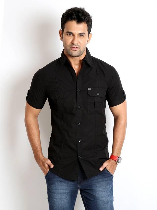 Rodid Men's Solid Casual Black Shirt - Buy Jet Black Rodid Men's ...