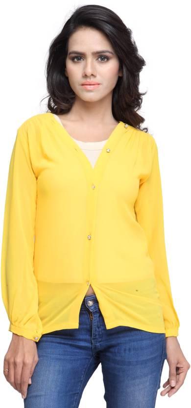 KET DAPPER Women's Solid Casual Yellow Shirt - Buy Yellow KET DAPPER