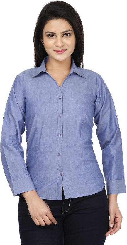 Sunday Casual Women's Solid Formal Blue Shirt - Buy Soothing Blue