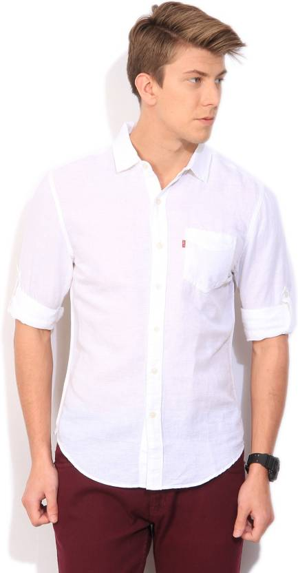 1844571db5 Levi s Men s Solid Casual White Shirt - Buy white Levi s Men s Solid Casual  White Shirt Online at Best Prices in India