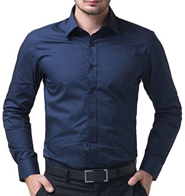 Zeppellin Men Solid Formal Blue Shirt
