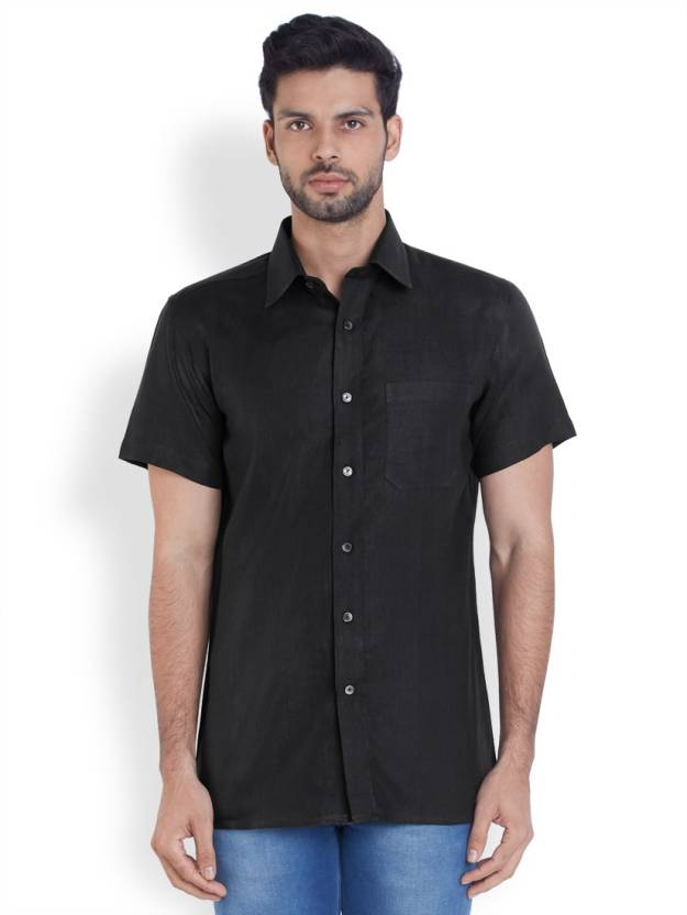 Raymond Men's Solid Formal Linen Black Shirt