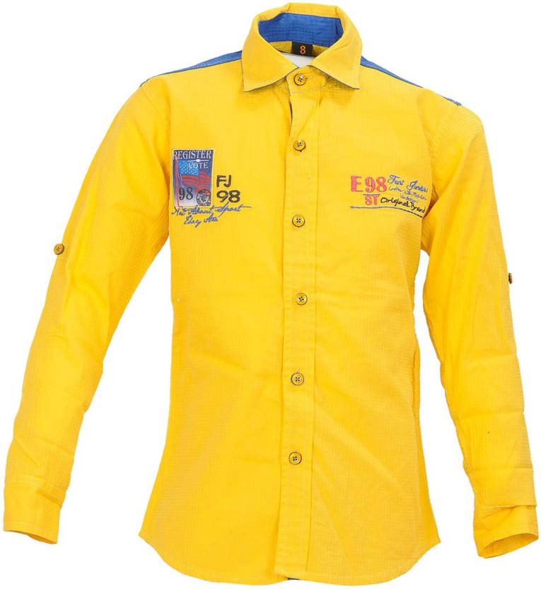 28ba251c Font Kids Boys Solid Casual Shirt - Buy Yellow Font Kids Boys Solid ...