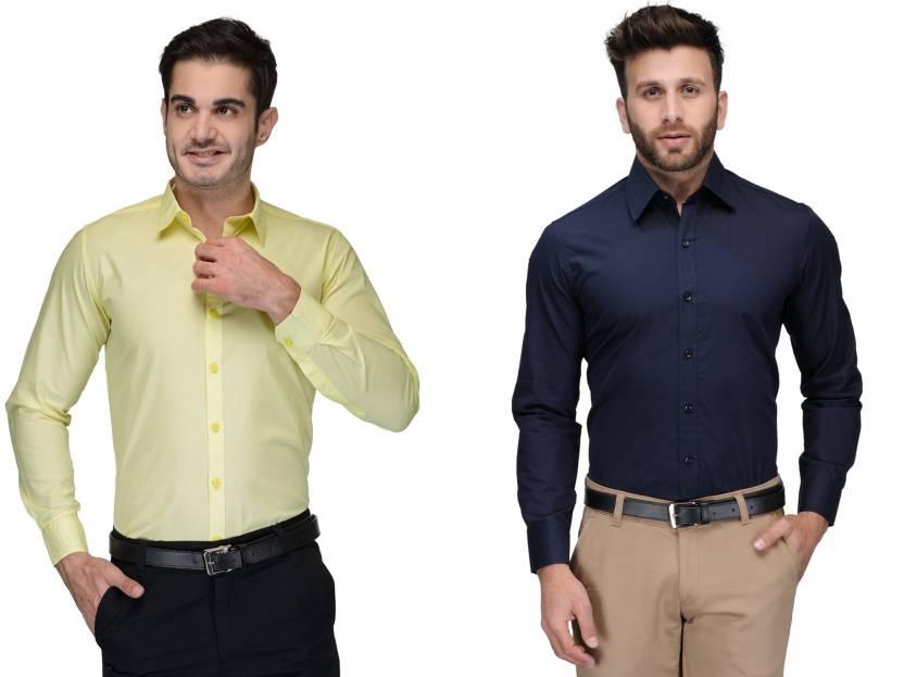 Allen Men's Solid Formal Green, Dark Blue Shirt