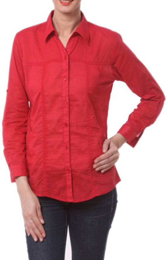 Allen Women's Solid Formal Red Shirt