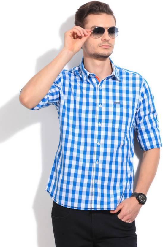 Flying Machine Men's Checkered Casual White, Blue Shirt