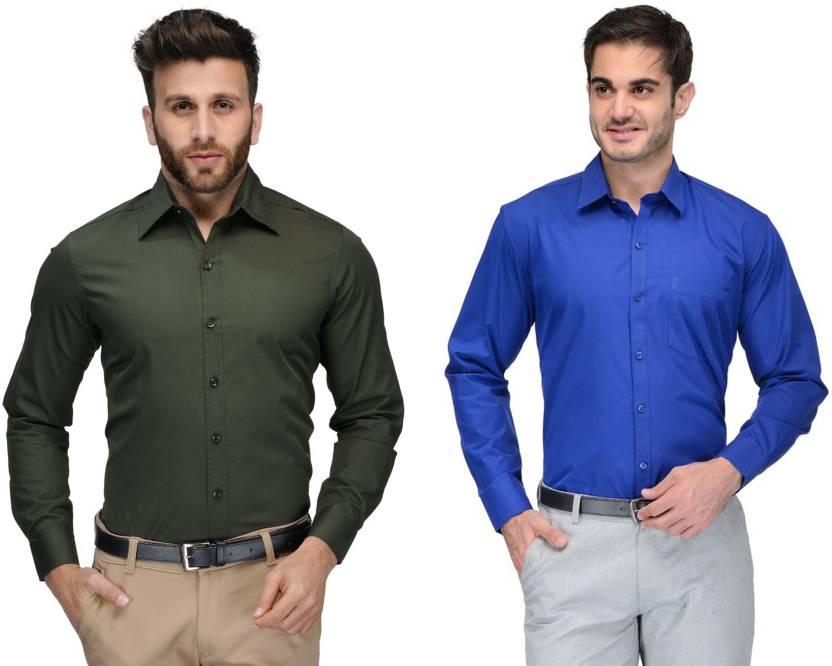 Allen Men's Solid Formal Green, Blue Shirt