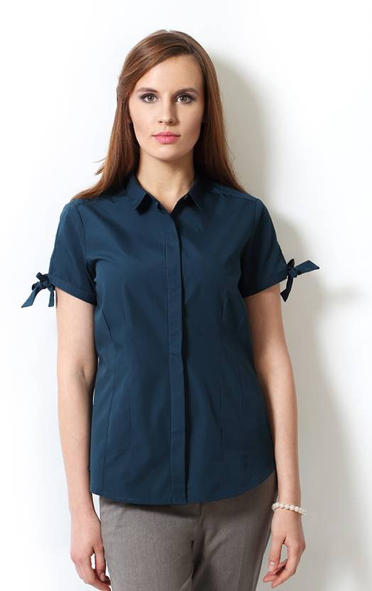 98170e75386f Annabelle Women s Solid Formal Shirt - Buy Ocean Blue Annabelle Women s  Solid Formal Shirt Online at Best Prices in India