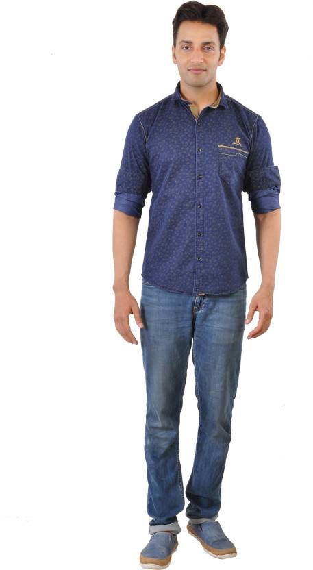 CREEDS Men's Printed Casual Denim Dark Blue Shirt