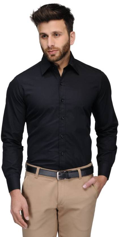 Allen Men's Solid Formal Black Shirt