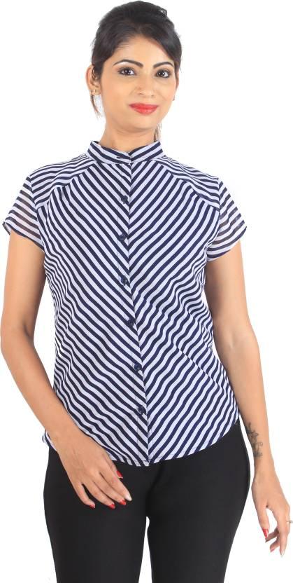 L'il pear Women's Striped Formal Multicolor Shirt