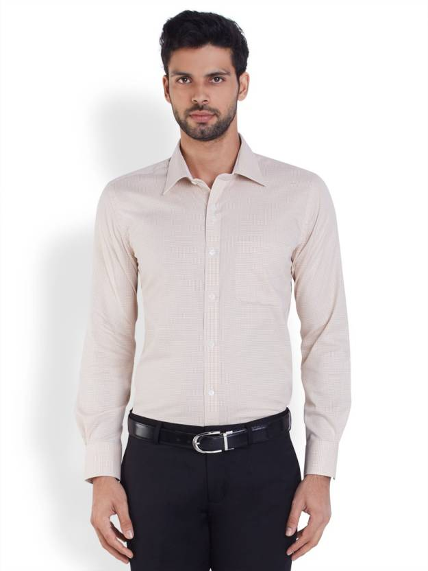 Raymond Men's Solid Formal Beige Shirt