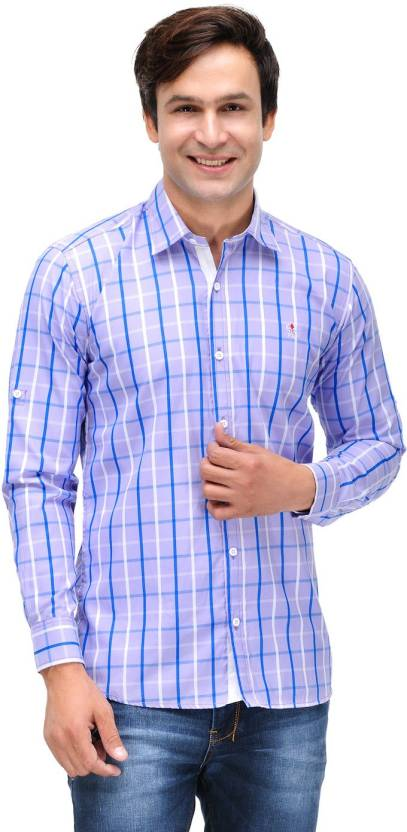 Finder Zone Men's Checkered Casual Purple Shirt - Buy Purple