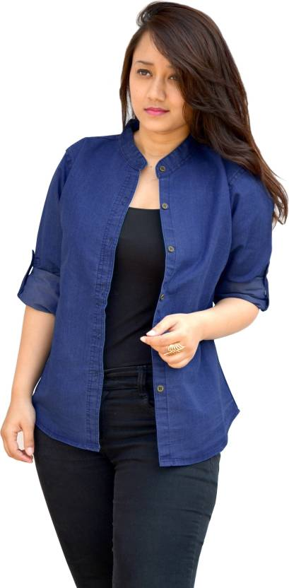 Aarti Collections Women's Solid Casual Denim Dark Blue Shirt
