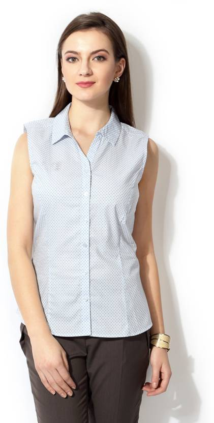 f0f6e56faef811 Allen Solly Women's Printed Formal White Shirt - Buy Blue Allen Solly  Women's Printed Formal White Shirt Online at Best Prices in India | Flipkart .com