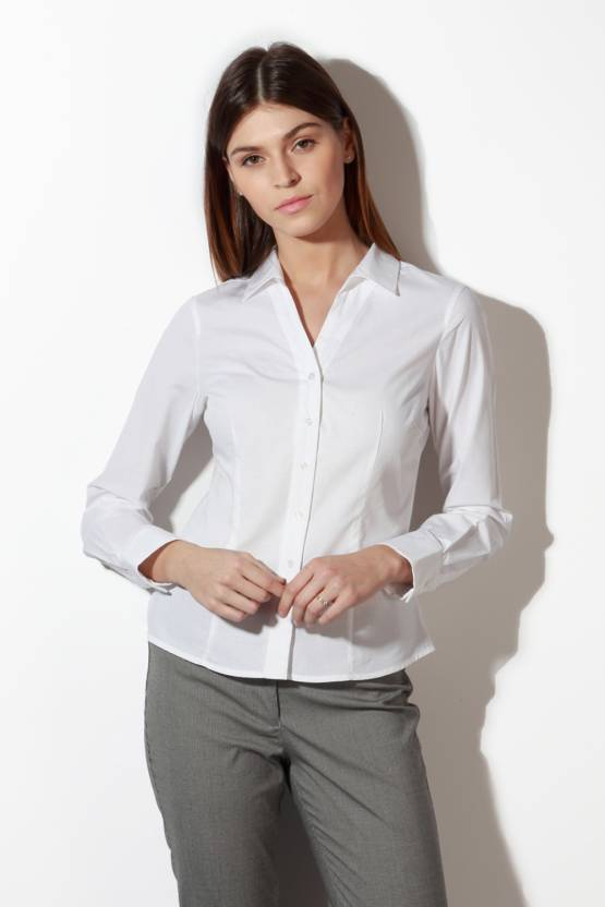 Van Heusen Women s Solid Formal White Shirt - Buy White Van Heusen Women s  Solid Formal White Shirt Online at Best Prices in India  898156f4d