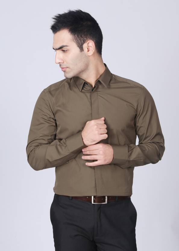 Dolce & Gabbana Men's Solid Casual Brown Shirt