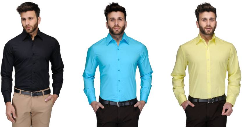 Allen Men's Solid Formal Black, Light Blue, Yellow Shirt