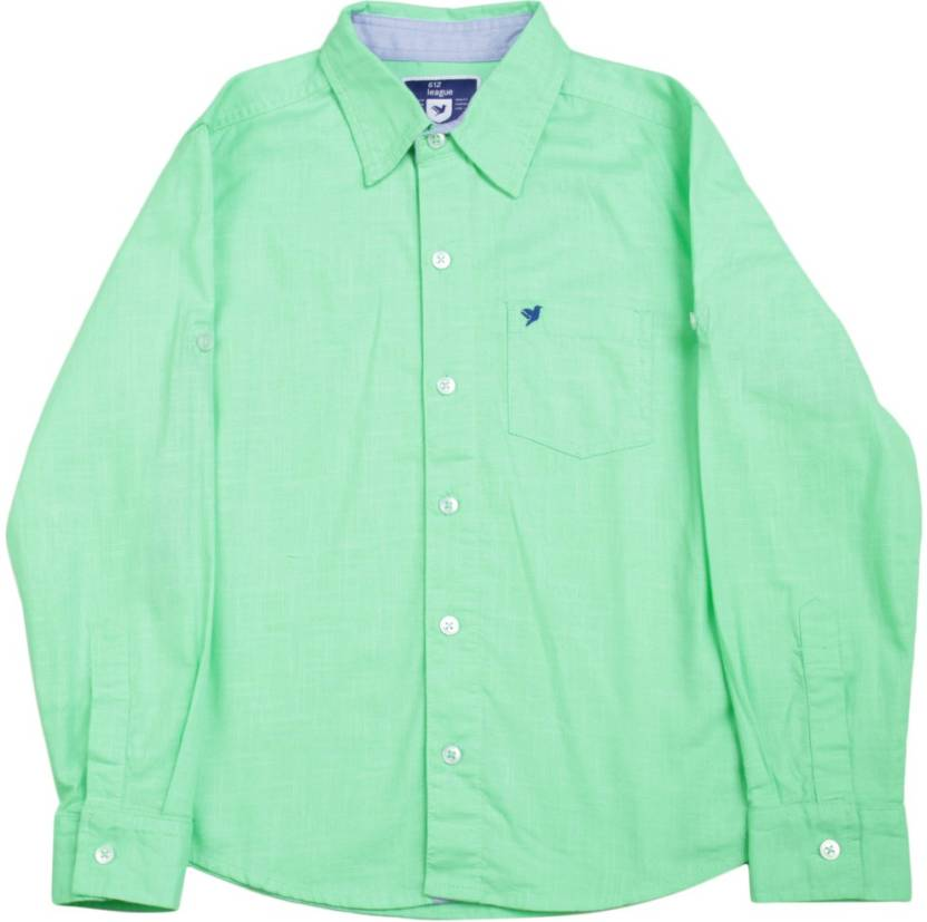 dc411900f0c 612 League Boys Solid Casual Green Shirt - Buy LIGHT GREEN 612 League Boys  Solid Casual Green Shirt Online at Best Prices in India