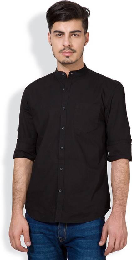 Highlander Mens Solid Casual Black Shirt