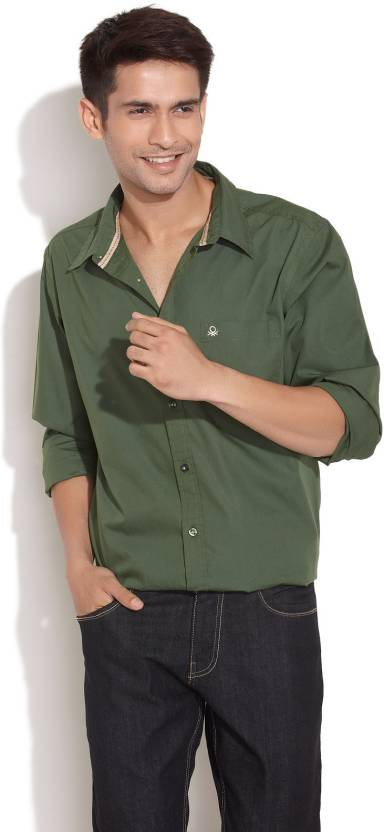 United Colors Of Benetton Mens Solid Casual Dark Green Shirt Buy