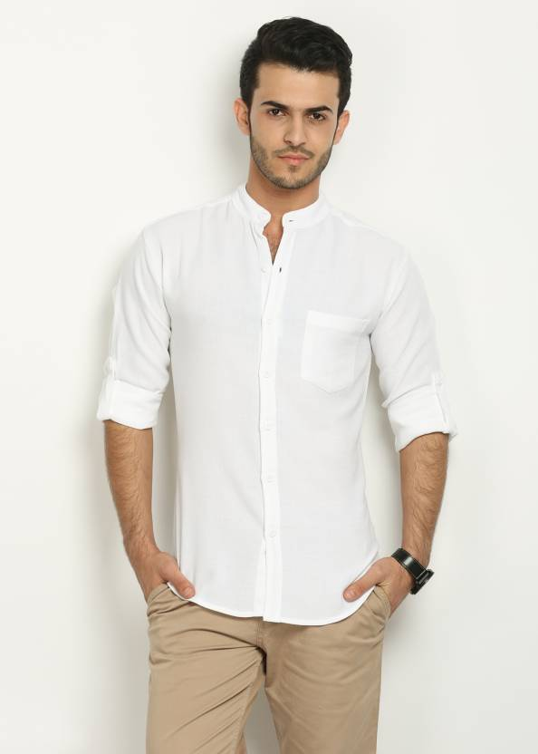 677d8cdfa2 Nick & Jess Men's Solid Casual White Shirt - Buy White Nick & Jess Men's  Solid Casual White Shirt Online at Best Prices in India | Flipkart.com