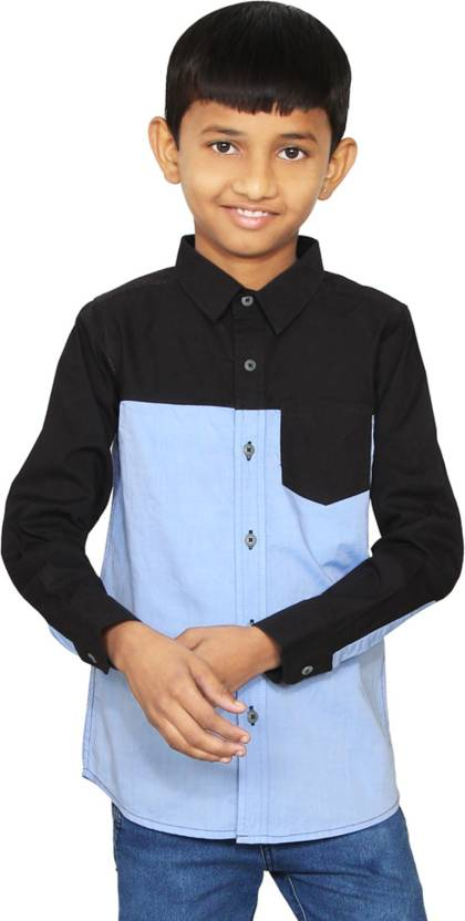 three sum Boys Solid Casual Black Shirt