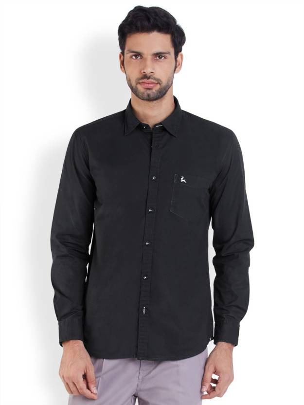 Parx Men's Solid Casual Black Shirt