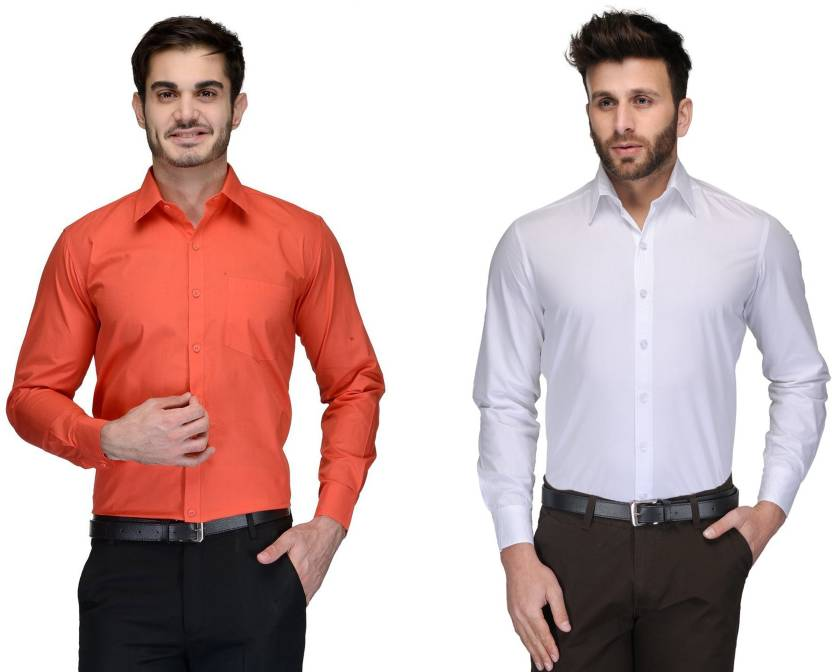 Allen Men's Solid Formal Orange, White Shirt